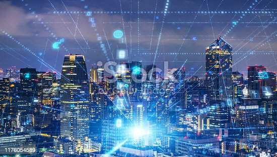 1129543876 istock photo Smart city and communication network concept. 5G. LPWA (Low Power Wide Area). Wireless communication. 1176054589
