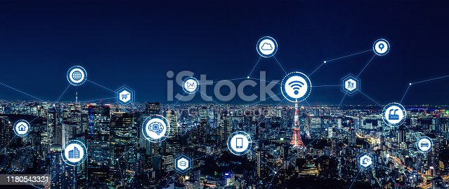 istock Smart city and communication network concept. 5G. LPWA (Low Power Wide Area). Wireless communication. 1180543321