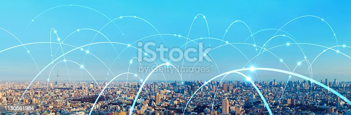 861165648istockphoto Smart city and communication network concept. 5G. LPWA (Low Power Wide Area). Wireless communication. 1180561984