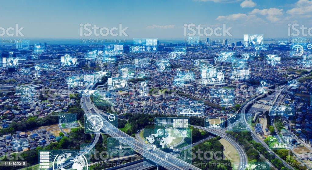 Ciudad inteligente y concepto de red de comunicación. 5G. LPWA (área ancha de baja potencia). Comunicación inalámbrica. - Foto de stock de 5G libre de derechos