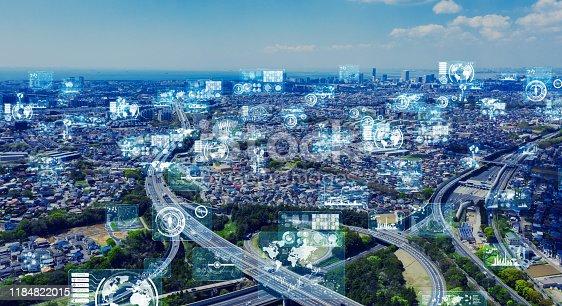 1129543866 istock photo Smart city and communication network concept. 5G. LPWA (Low Power Wide Area). Wireless communication. 1184822015