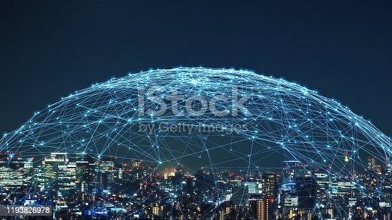 1129543876 istock photo Smart city and communication network concept. 5G. LPWA (Low Power Wide Area). Wireless communication. 1193826978