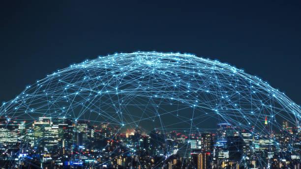 koncepcja inteligentnego miasta i sieci komunikacyjnej. 5g. lpwa (obszar o niskiej mocy). komunikacja bezprzewodowa. - sieć komputerowa zdjęcia i obrazy z banku zdjęć
