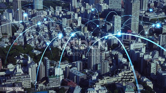 1013558568 istock photo Smart city and communication network concept. 5G. LPWA (Low Power Wide Area). Wireless communication. 1193827020