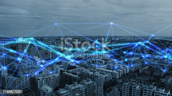 1013558568 istock photo Smart city and communication network concept. 5G. LPWA (Low Power Wide Area). Wireless communication. 1193827037