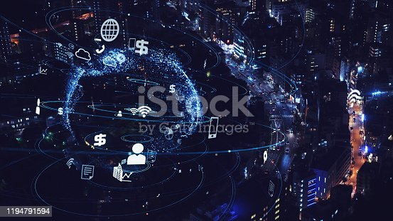 1013969318 istock photo Smart city and communication network concept. 5G. LPWA (Low Power Wide Area). Wireless communication. 1194791594