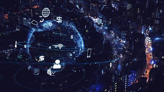 1013969318 istock photo Smart city and communication network concept. 5G. LPWA (Low Power Wide Area). Wireless communication. 1194791594