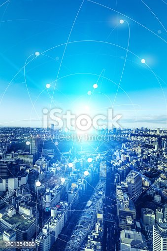1129543876 istock photo Smart city and communication network concept. 5G. LPWA (Low Power Wide Area). Wireless communication. 1201354360
