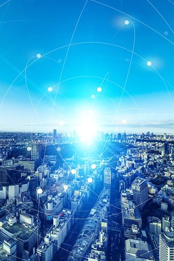 1013969318 istock photo Smart city and communication network concept. 5G. LPWA (Low Power Wide Area). Wireless communication. 1201354360