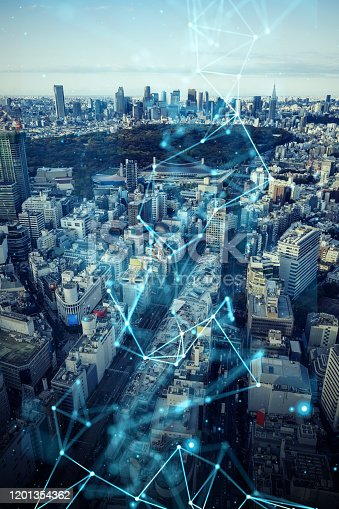 1013969318 istock photo Smart city and communication network concept. 5G. LPWA (Low Power Wide Area). Wireless communication. 1201354362