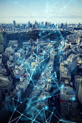 1013969318 istock photo Smart city and communication network concept. 5G. LPWA (Low Power Wide Area). Wireless communication. 1201354362