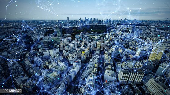 1013969318 istock photo Smart city and communication network concept. 5G. LPWA (Low Power Wide Area). Wireless communication. 1201354370
