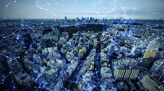 1013969318 istock photo Smart city and communication network concept. 5G. LPWA (Low Power Wide Area). Wireless communication. 1201354370