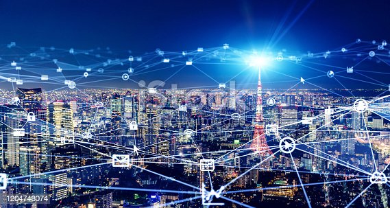 1013969318 istock photo Smart city and communication network concept. 5G. LPWA (Low Power Wide Area). Wireless communication. 1204743074