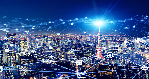 1013969318 istock photo Smart city and communication network concept. 5G. LPWA (Low Power Wide Area). Wireless communication. 1204743074