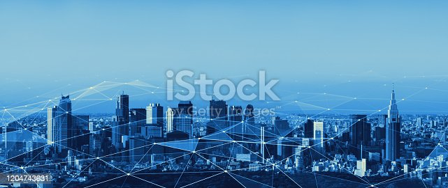 istock Smart city and communication network concept. 5G. LPWA (Low Power Wide Area). Wireless communication. 1204743631