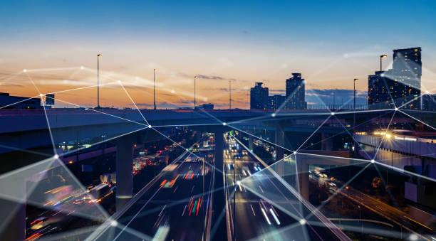 smart city und kommunikationsnetzkonzept. 5g. lpwa (low power wide area). drahtlose kommunikation. - datenknoten stock-fotos und bilder