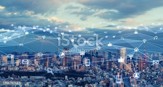 1129543876 istock photo Smart city and communication network concept. 5G. LPWA (Low Power Wide Area). Wireless communication. 1204762151