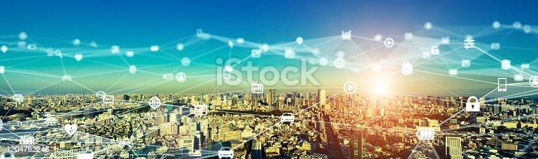 1090039252 istock photo Smart city and communication network concept. 5G. LPWA (Low Power Wide Area). Wireless communication. 1204762246