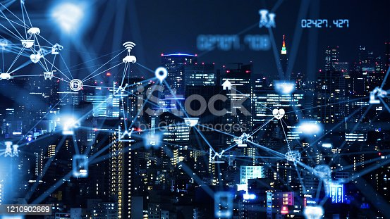 1129543876 istock photo Smart city and communication network concept. 5G. LPWA (Low Power Wide Area). Wireless communication. 1210902669
