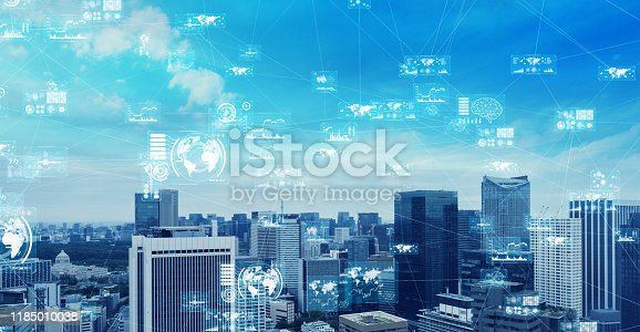 1129543876 istock photo Smart city and communication network concept. 5G. 1185010038