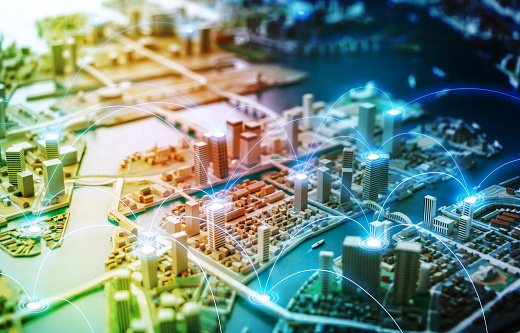 istock Smart city and communication network concept. abstract mixed media. 858526756