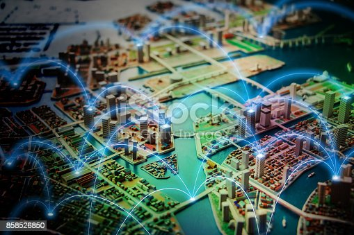 istock Smart city and communication network concept. abstract mixed media. 858526850