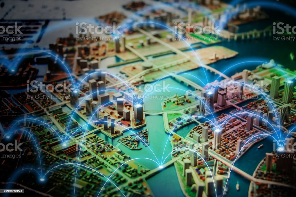 Smart city and communication network concept. abstract mixed media. stock photo