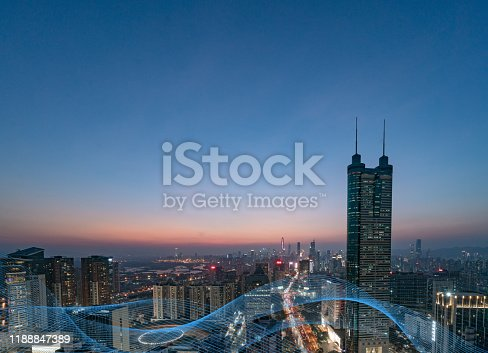 928819758 istock photo Smart city and communication network concept Aerial View 1188847389