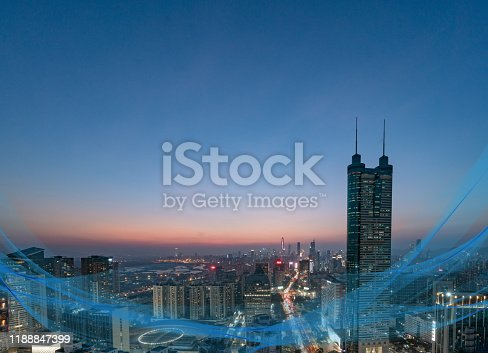 806122040 istock photo Smart city and communication network concept Aerial View 1188847399