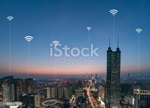 806122040 istock photo Smart city and communication network concept Aerial View 1188847438