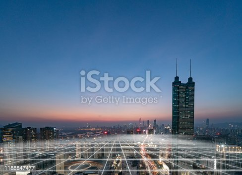 806122040 istock photo Smart city and communication network concept Aerial View 1188847477