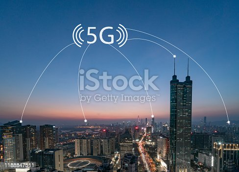 1013558568 istock photo Smart city and communication network concept Aerial View 1188847511