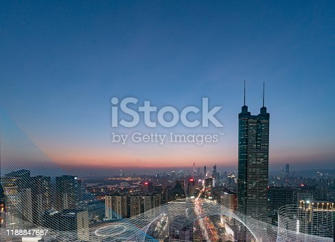 928819758 istock photo Smart city and communication network concept Aerial View 1188847687