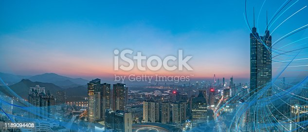 928819758 istock photo Smart city and communication network concept Aerial View 1189094408