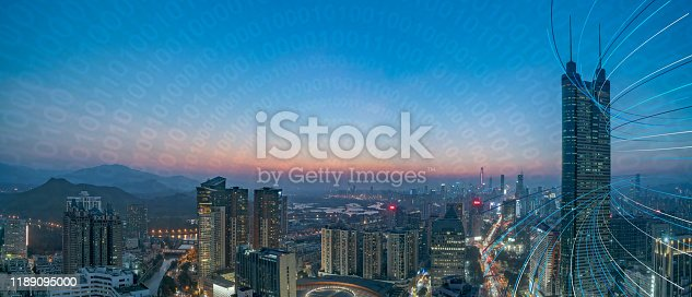 806122040 istock photo Smart city and communication network concept Aerial View 1189095000
