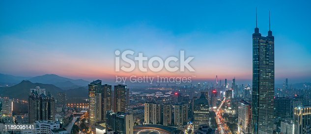 928819758 istock photo Smart city and communication network concept Aerial View 1189095141