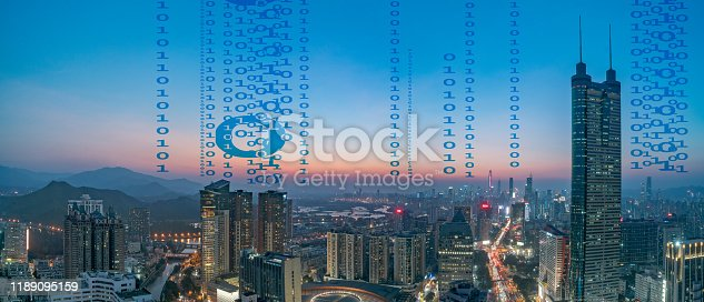 806122040 istock photo Smart city and communication network concept Aerial View 1189095159