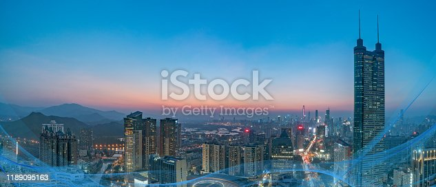 806122040 istock photo Smart city and communication network concept Aerial View 1189095163