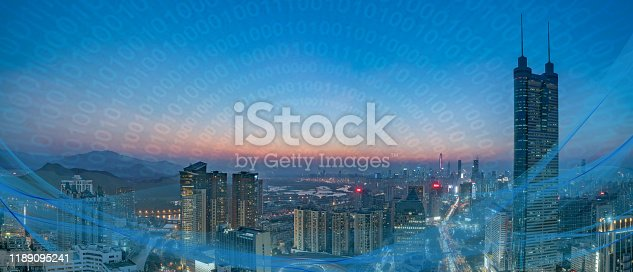806122040 istock photo Smart city and communication network concept Aerial View 1189095241