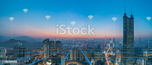 806122040 istock photo Smart city and communication network concept Aerial View 1189095453