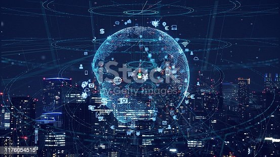 istock Smart city and communication network concept. Global business. 1176054515