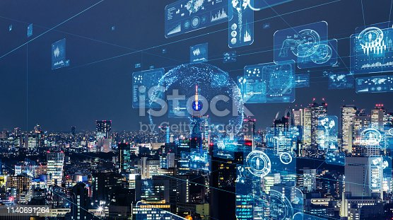 istock Smart city and communication network concept. GUI (Graphical User Interface). IoT (Internet of Things). 1140691264