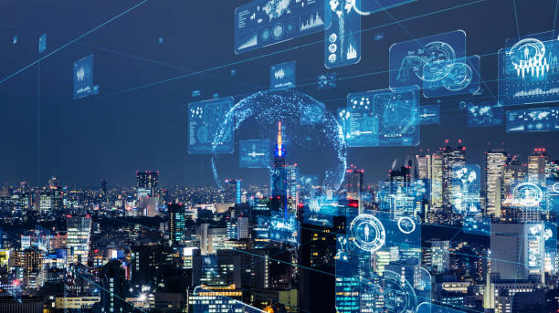 smart city and communication network concept. gui (graphical user interface). iot (internet of things). - smart city imagens e fotografias de stock