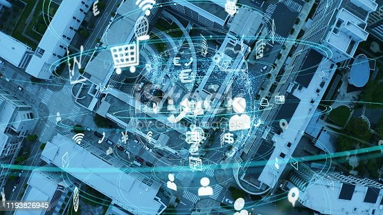 1129543876 istock photo Smart city and communication network concept. IoT (Internet of Things). 5G. Wireless communication. 1193826945