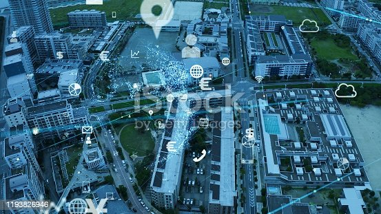 1129543876 istock photo Smart city and communication network concept. IoT (Internet of Things). 5G. Wireless communication. 1193826946
