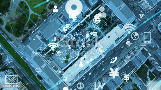 1129543876 istock photo Smart city and communication network concept. IoT (Internet of Things). 5G. Wireless communication. 1193826957