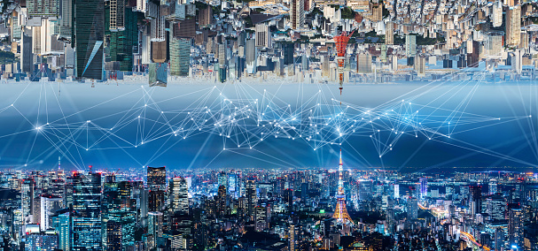 1013969318 istock photo Smart city and communication network concept. IoT(Internet of Things). ICT(Information Communication Network). 1013558544