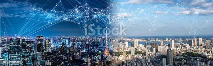 istock Smart city and communication network concept. IoT(Internet of Things). ICT(Information Communication Network). 1013558546