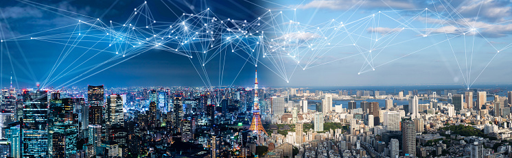 1013969318 istock photo Smart city and communication network concept. IoT(Internet of Things). ICT(Information Communication Network). 1013558546